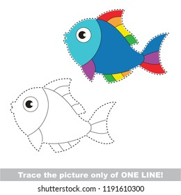 Drawing worksheet for preschool kids with easy gaming level of difficulty, simple educational game for kids one line tracing of Rainbow Fish Animal