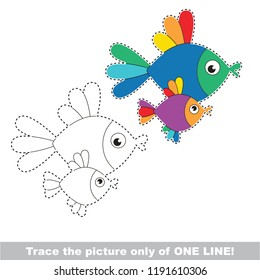 Drawing worksheet for preschool kids with easy gaming level of difficulty, simple educational game for kids one line tracing of Rainbow Fish Animal Mother and infant