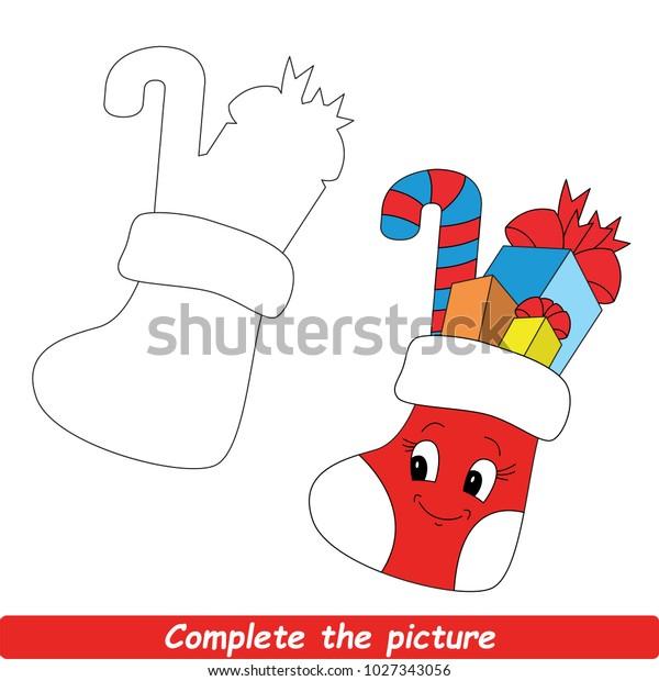 Christmas Stocking Drawing Easy.Drawing Worksheet Preschool Kids Easy Gaming Stock Vector