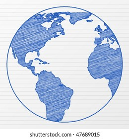 Drawing world globe on a notepad sheet. Vector illustration.