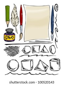 Drawing and Writing Tools - Ink Geometric Shapes - Vector Collection