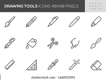 Drawing and Writing Tools Vector Line Icons. Pen, Pencil, Paintbrush, Paint Bucket. Editable Stroke. 48x48 Pixel Perfect.