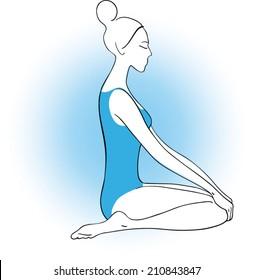 drawing of a young woman doing yoga virasana