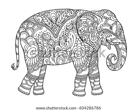 Drawing Zentangle Elephant Coloring Book Adult Stock Vector Royalty