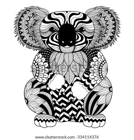 Drawing Zentangle Koala Coloring Page Shirt Stock Vektorgrafik