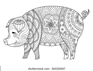 Drawing zentangle pig for coloring book for adult or other decorations