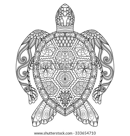 Drawing Zentangle Turtle Coloring