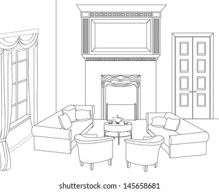 Drawing-room. Editable vector illustration of an outline sketch of a interior. Graphical hand drawing interior.