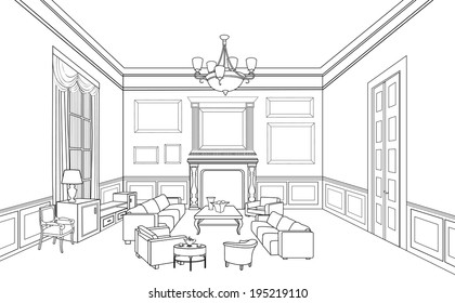 Drawing-room. Editable vector illustration of an outline sketch of an interior. Furniture blueprint.