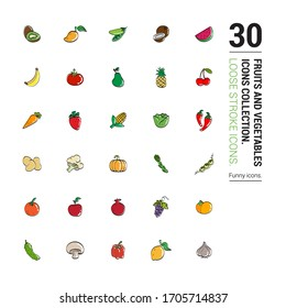 Drawings of different healthy fruits and vegetables. Drawing done in loose stroke. Editable vector.