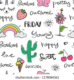 Drawings like rainbow, unicorn, flower and words like happy, awesome, love seamless repeating pattern texture / Vector illustration design for fashion fabrics, wallpapers and other uses