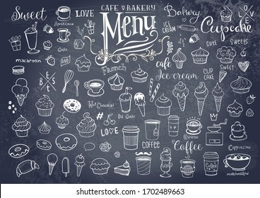 Drawings of various objects for cafes or bakery, inscriptions and symbols for menu creation