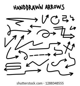 Drawn Arrow Set Illustration isolated on white background. Grunge doodle style vector eps