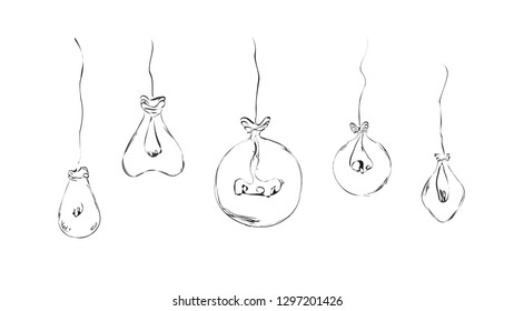 Drawn balloons in the form of light bulbs in a minimalist style in the form of wires for the interior, ideas, icons. Sketch.