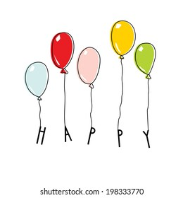 Drawn balloons with lettering HAPPY