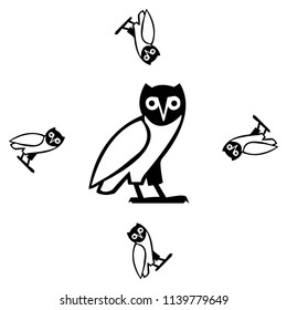 Drawn black and white bird background template. Creature vector backdrop with owl for wallpapers, wrapping paper, textile or fabric print, book or brochure. Animal artwork with popgun.