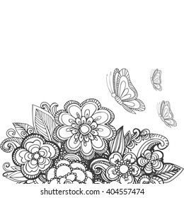 Drawn by hand beautiful flowers made in a vector. The image can be used in the design of a greeting card, or invitation can be used for web sites and their own design projects.