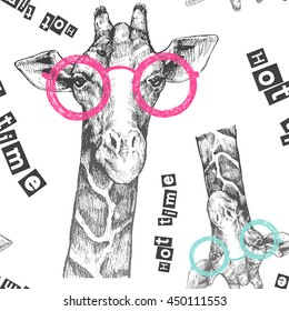 Drawn by hand giraffe. Bright giraffe glasses - hipster. Hot time. Summer print on clothing, shoes, T-shirt, raglan. Vector. Pattern for textile or paper