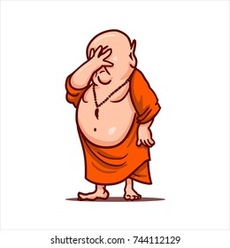 Drawn cartoon funny character - monk in orange robe. Clipart for sticker or print. Fat bald Buddha stands and make facepalm - upset and put hand on face.
