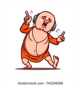 Drawn cartoon funny character - monk in orange robe. Clipart for sticker or print. Fat bald Buddha listens to music with headphones, sings and dances.