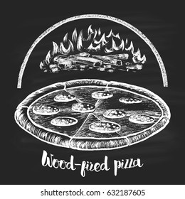 Drawn in chalk on a pizza background burning fire. Illustrations for the cafe menu.