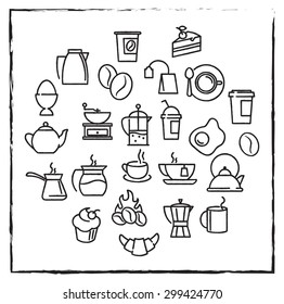 Drawn with chalk styled vector linear icons for cafe menu with tea and coffee