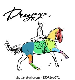 Нand drawn colorful graphic: horse riding. Equestrian sport like dressage illustration for your design