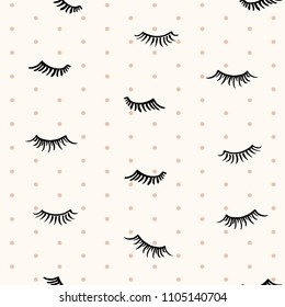 Drawn different cartoon black eyelashes on beige background with polka dots. Makeup beauty product. Vector seamless pattern.