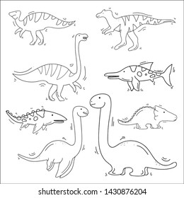 Drawn Dinosaur Theme Doodle Collection In White Isolated Background - Vector
