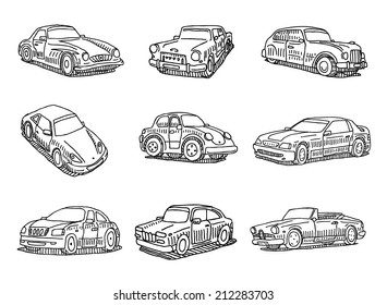 Drawn doodle cute cars vector set isolated on white background