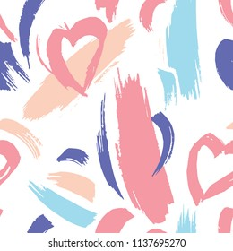 Drawn with a dry brush. Seamless pattern with abstract ornament.