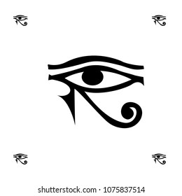 Drawn egypt hieroglyph eye background template. Vector backdrop with ancient god silhouette for textile or fabric, book, brochure or comics. Creative ra artwork isolated on white for decor.
