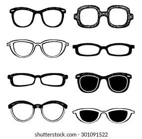 Drawn glasses vector set. Retro hipsters style.