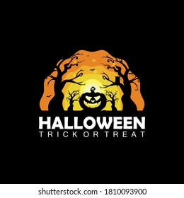 drawn Halloween symbols pumpkin,logo design, vector illustration