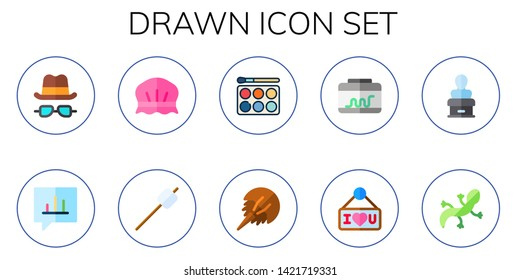 drawn icon set. 10 flat drawn icons.  Collection Of - hat and glasses, bubble speech, shower cap, marshmallow, watercolor, horseshoe, terrarium, i love you, statue, lizard