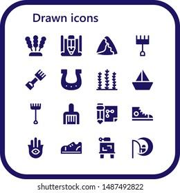 drawn icon set. 16 filled drawn icons.  Collection Of - Seaweed, Sketch, Samosa, Rake, Horseshoe, Sailboat, Drawing, Sneakers, Hamsa, Dreamworks