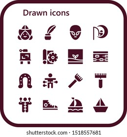 drawn icon set. 16 filled drawn icons.  Collection Of - Dutch, Inkwell, Alien, Dreamworks, Drawing, Sketch, Terrarium, Nougat, Horseshoe, Voodoo doll, Rake, Sneakers, Sailboat icons
