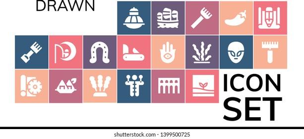drawn icon set. 19 filled drawn icons.  Simple modern icons about  - Terrarium, Rake, Sketch, Seaweed, Voodoo doll, Segovia, Dreamworks, Horseshoe, Penknife, Hamsa, Alien, Sailboat