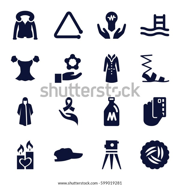 drawn icons set. Set of 16 drawn filled icons such as milk can, nest, overcoat, sandals, blouse, theodolite, candle heart, ribbon on hand, triangle musical instrument