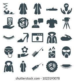 Drawn icons. set of 25 editable filled drawn icons such as nest, eyelash, overcoat, sandals, cool emot, atom in hand, candle heart, bulb in hand, injection rash