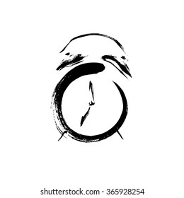 Drawn ink sketch and watercolor. Vector illustration of alarm-clock. Logo time