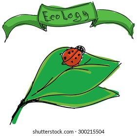Drawn ladybird on leaf with word ecology on white background