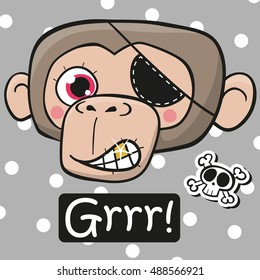 Drawn Monkey with eye patch and gold tooth