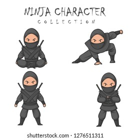 a drawn ninja warrior in different poses