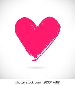 Drawn pink heart silhouette on white background. Symbol of love in grunge style