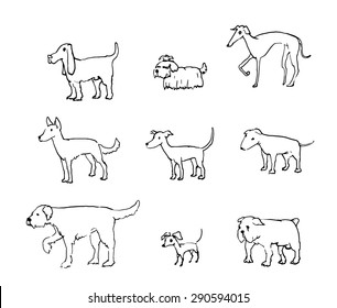 Drawn raster sketch of  nine isolated dogs.