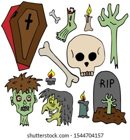 Drawn scary vector clip art. Isolated image on a white background. Spooky cartoon characters for halloween design.