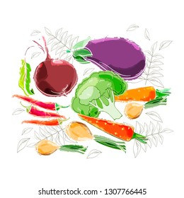 A drawn set of vegetables 2 in color with a white outline on a white background. Vegetables healthy food. Vector illustration.