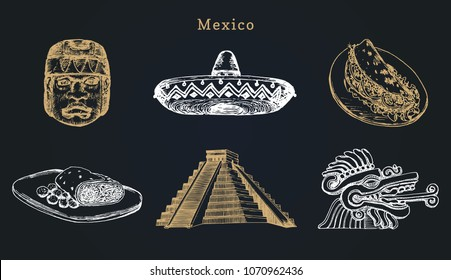 Drawn set of well-known Mexican attractions. Vector illustrations of Olmec and Aztec sights. Latin American tourist icons and national street food symbols.