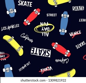 and drawn skateboarding elements seamless pattern. Skate background. Skateboarding doodle illustration. Vector illustration. Seamless pattern with cartoon skateboards, slogans.